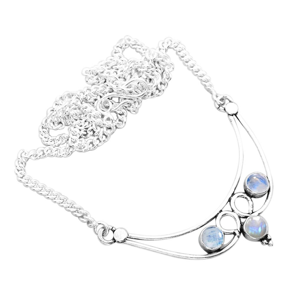 Genuine Rainbow Moonstone Necklace 925 Silver Plated 2.15ct