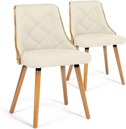 Menzzo Lalix – Juego de 2 sillas de Tela, Madera Clara/Beige, 48: Amazon.es: Hogar