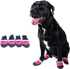 Súper resistente al desgaste Oxford perro grande impermeable antideslizante cálido perro mascota botas de lluvia 3 colores 5 tamaños (M, rosa rojo)