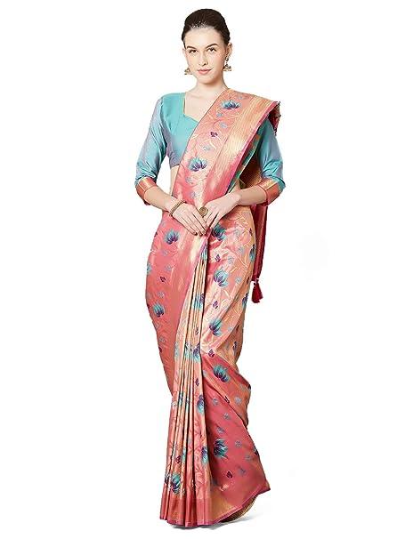 2e591363c SareeShop Women s Silk Pink Jacquard sarees (Moukthika-Pink)  Amazon.in   Clothing   Accessories