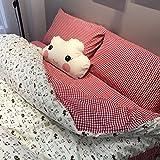 Super Cute Little Kitten Printed Duvet Cover Set Queen Size 4 Pieces- MAXYOYO Cartoon Bedding Set for Boys/Girls/Children/Teens, Red Plaid Cat Pattern Bedding Sheet Set