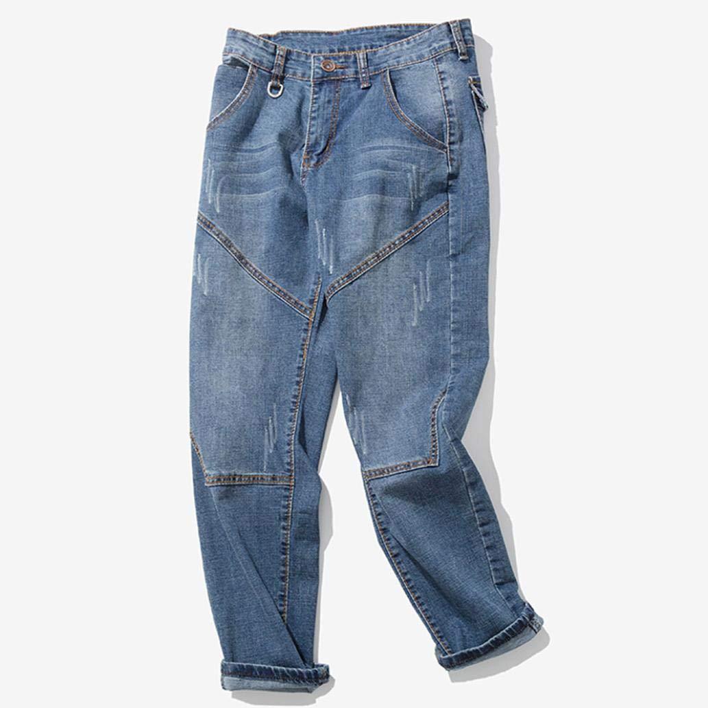 Alimao 2018 Men's Pants Casual Autumn Zipper Patchwork Denim Vintage Wash Hip Hop Trousers Jeans Pants by Alimao (Image #4)