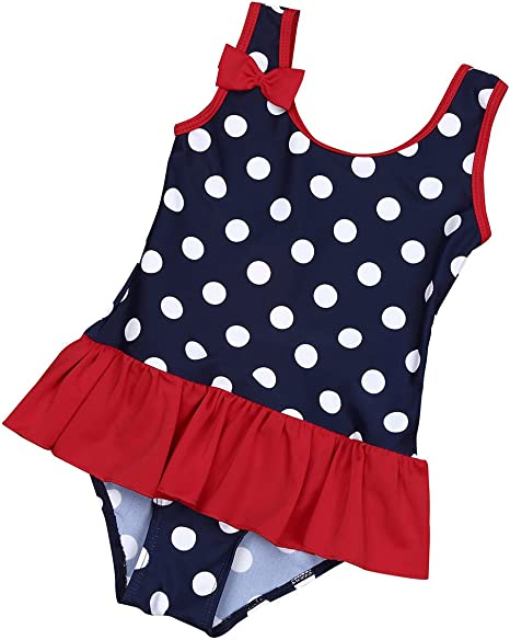 One Piece Zip Rash Guard Swimming Costume YiZYiF Baby Toddler Girls Cute Ruffle Swimsuit UPF 50