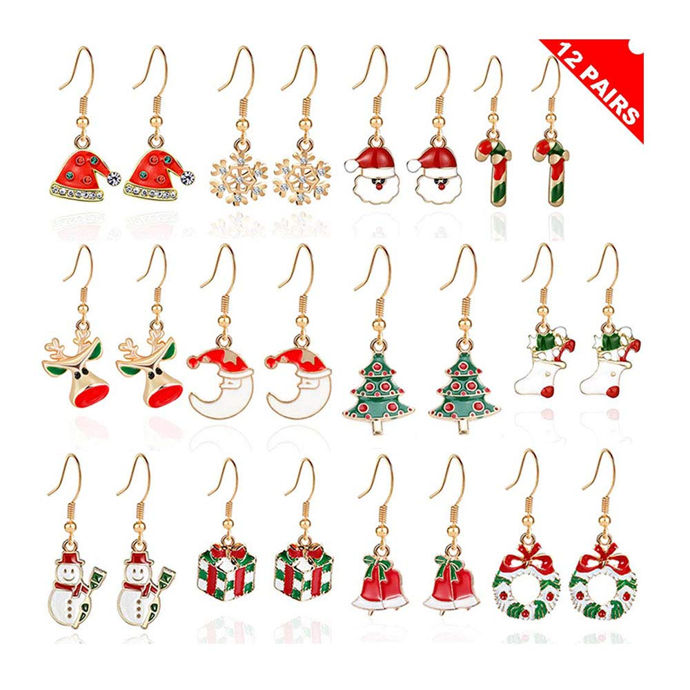 GPIRAL Christmas Earrings Jewelry Set for Women Girls -Nickel Free 12 Pairs Snowflake Snowman Moon Santa Christmas Tree Wreath Gift Box Xmas Hat Reindeer Holiday Earrings gold-plated-brass)