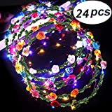 LED Flower Crown Glow in The Dark Party Favors, 24 Pack Adjustable Flower Wreath Headband Luminous 10 LED Flower Headpiece Flower Headdress for Girls Women Wedding Gifts (LED Flower Headband 24P)