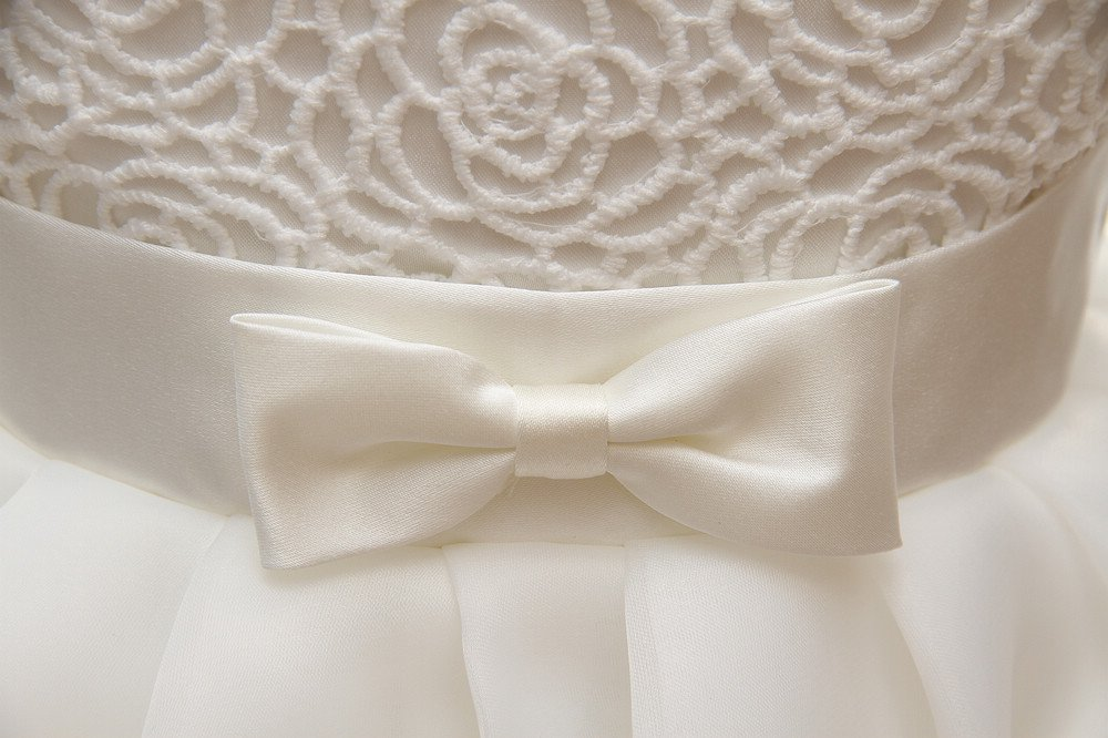 Baby Girls Dresses Christening Wedding Pageant Bow Formal Dress Ivory white (3M/0-6months) by Meiqiduo (Image #6)