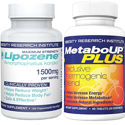 Lipozene Weight Loss Combo Mega Bottle 120 Count Plus MetaboUP Thermogenic Supplement 60 Count – Boost Metabolism, Increase Energy, and Control Your Appetite