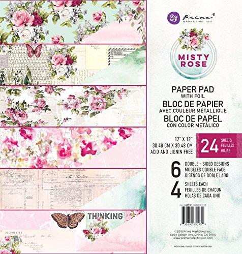 Prima Marketing Inc. 630959 Misty Rose 12x12 Paper Pad, Multicolored by Prima Marketing Inc.