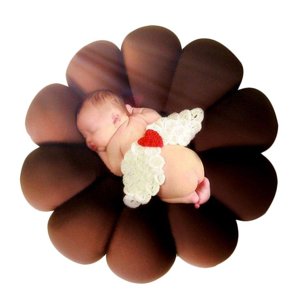 NACHEN Runde Donut Kissen Studio Neugeborenen Baby Fotografie Korb Prop,Braun,60X60cm