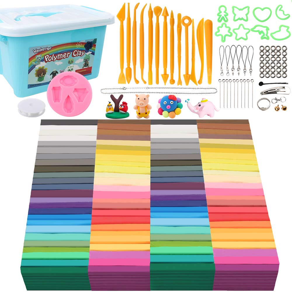 Vankerter 50 Colors Polymer Clay Kit 100 Packs Oven Bake Clay Modeling Clay with 13 Sculpting Tools and 12 Kinds of Accessories (1.4 Ounce per Color)
