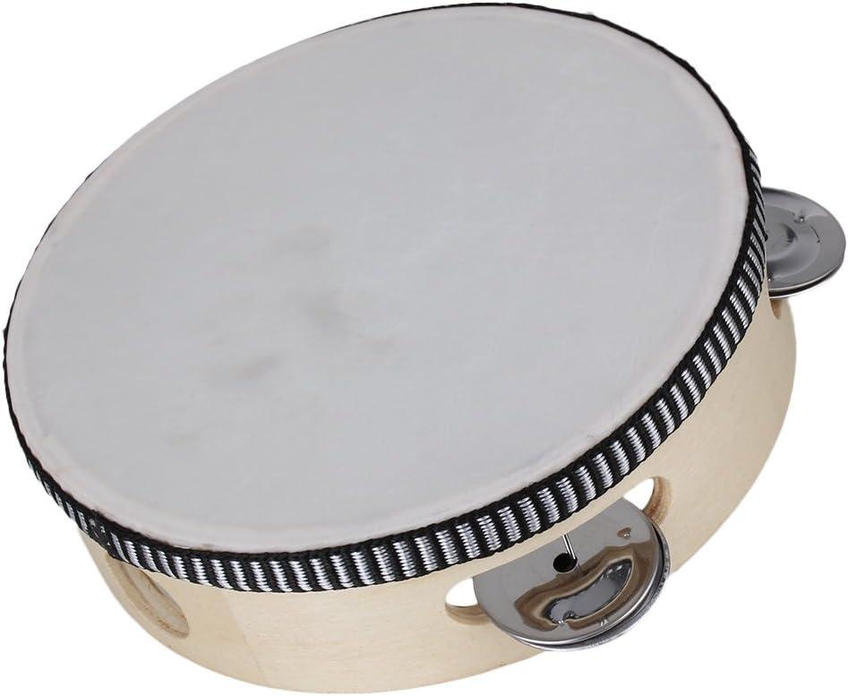 yibuy 10/Inch Madera Color m/úsica mano tambor percusi/ón ritmo pandereta tambor con anilla de madera /& tambor Bell