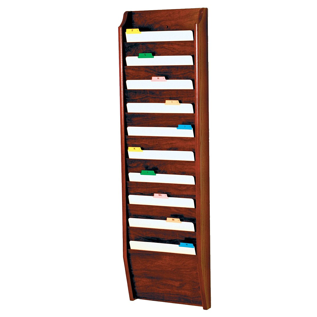 DMD Chart and File Holder, Tapered Bottom Wall Mounted, 10 Pocket, Letter Size, Mahogany Oak Wood