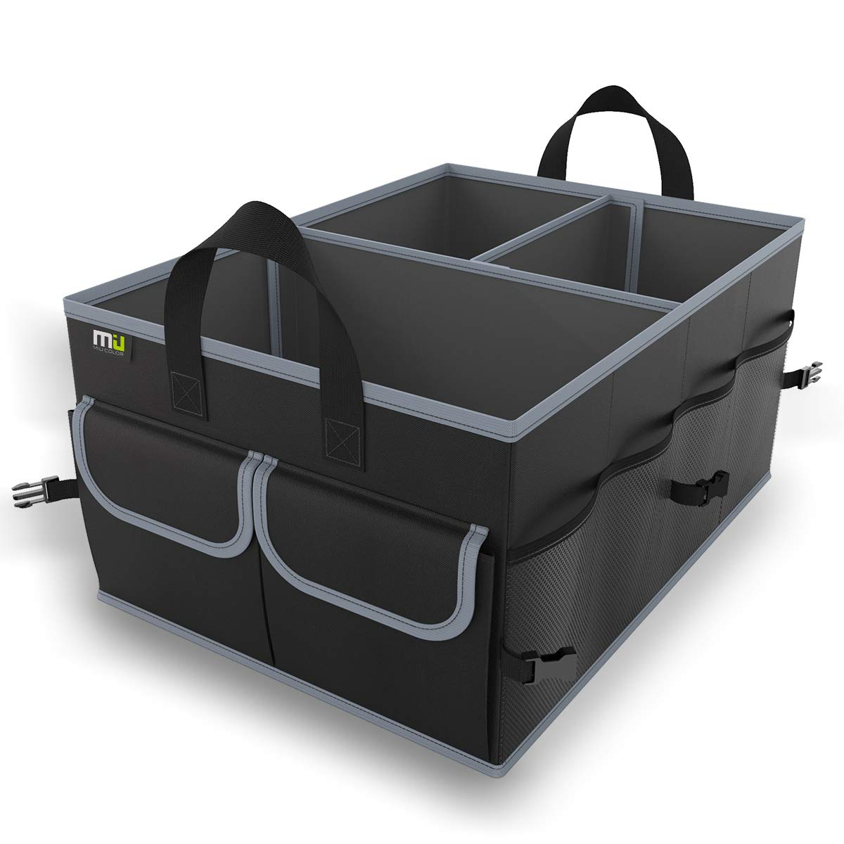 MIU COLOR Car Trunk Organizer, Collapsible Portable Cargo Storage Container, Multipurpose Sturdy Trunk Organizer for Car, Truck, SUV(Black with Strap) by MIU COLOR