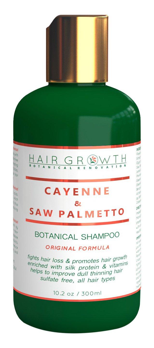 Hair Growth Botanical Renovation Sulfate-Free Scalp Stimulating Shampoo, 10.2 oz/300ml, Cayenne/Saw Palmetto