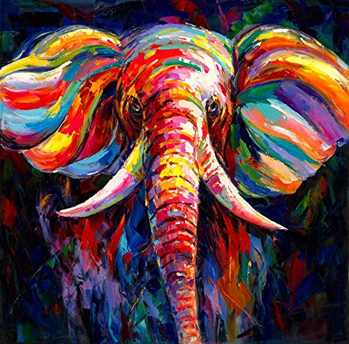gold mi Black or White Background Colorful Elephant Head Painting Canvas Printed Animal Wall Art Picture for Family Room Courtyard Wall Decor Home Decorations Frame (Black, 16x16inch)