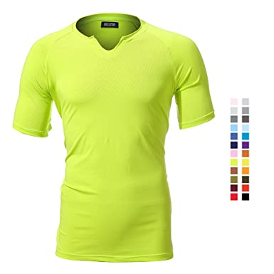 INFLATION Men s Casual Summer T-Shirt Plain Cotton Crew V-Neck T-Shirts bb9887f3d98