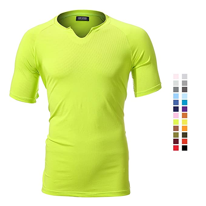 71fb782b6a61 Image Unavailable. Image not available for. Color  FLY HAWK Regular Fit  Short Sleeve Crew Neck T-Shirts Cotton Shirts Fluorescent Green S