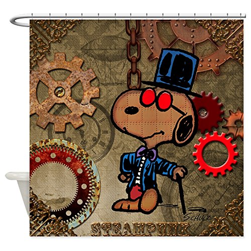 CafePress - Steampunk Snoopy - Decorative Fabric Shower Curtain (69