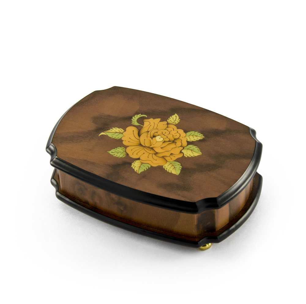Handcrafted 36 Note Single Rose Sorrento Musical Jewelry Box - Diamonds are a Girls Best Friend