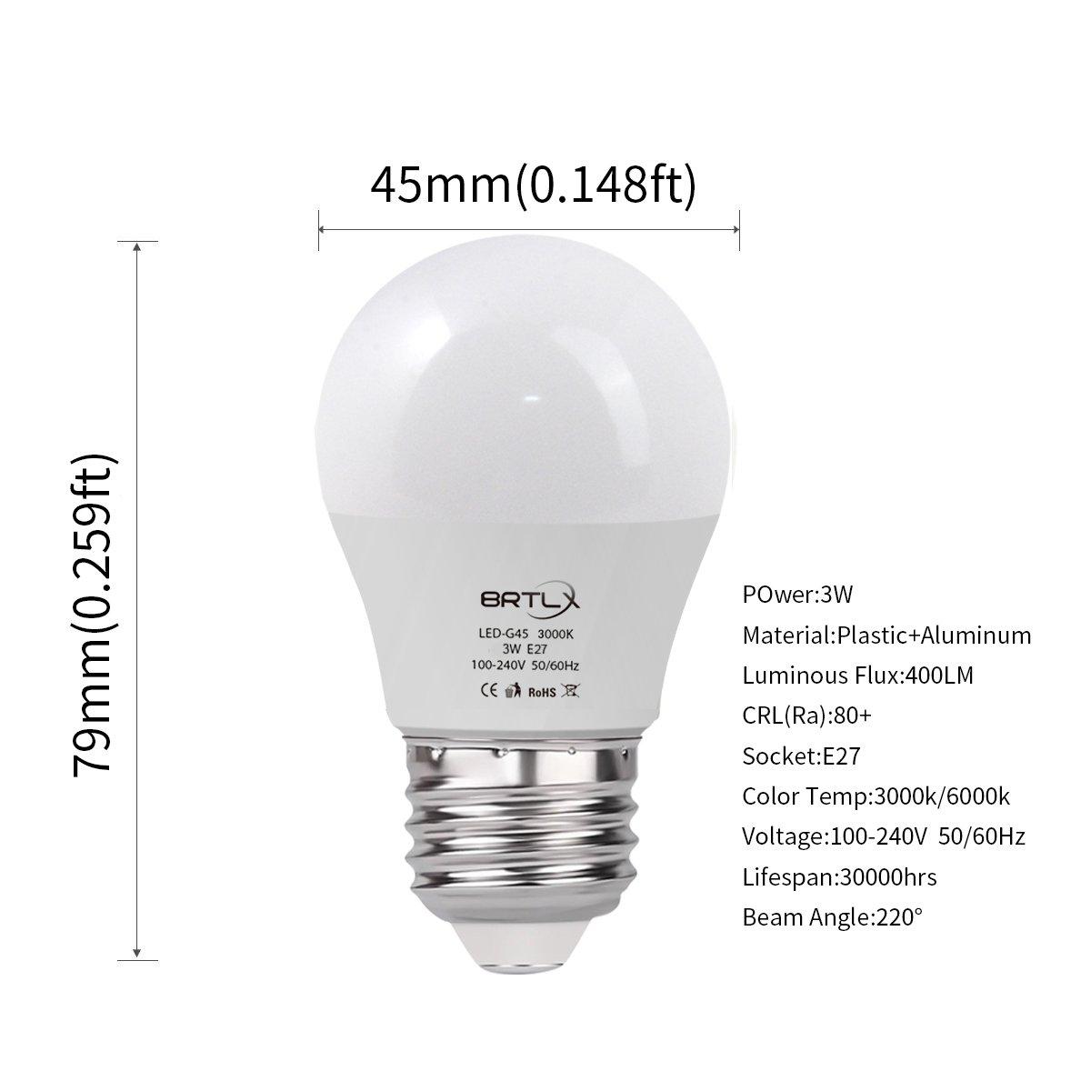 Bombilla LED Esférica E27 3 W, Equivalencia de 25 W, Blanco Cálido 3000K, 240 Lúmenes, No Regulable, Pack de 4 Unidades: Amazon.es: Iluminación