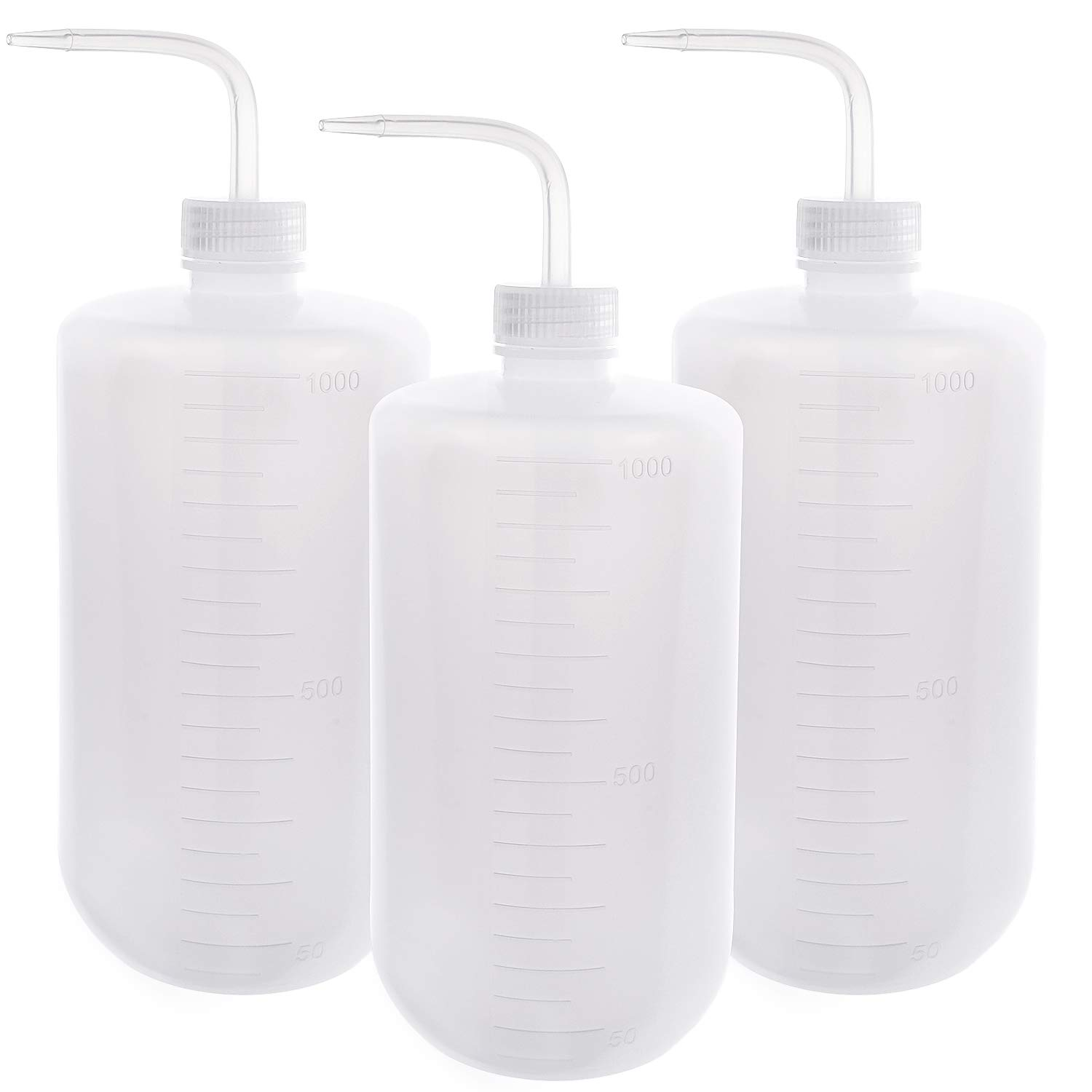 SUPERLELE 3pcs 1000ml LDPE Safety Wash Bottle, Plastic Squeeze Tattoo Bottle Medical Squirt Wash Bottle