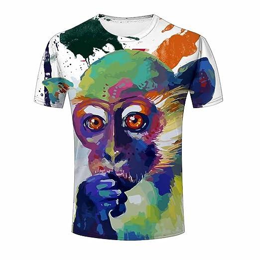 56a8300b2d9 ZeShan Men Summer T-Shirts Painting Monkey 3d Front Back Polyester Tops  Print 3XL