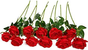 JUSTOYOU 10pcs Artificial Rose Silk Flower Blossom Bridal Bouquet for Home Wedding Decor(Red)