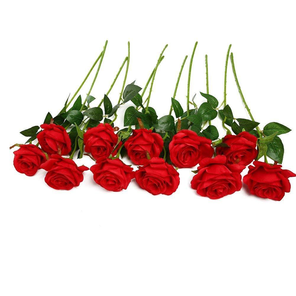 Amazon Justoyou 10pcs Artificial Rose Silk Flower Blossom