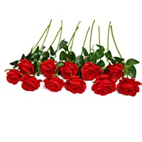 JUSTOYOU 10pcs Artificial Rose Silk Flower Blossom Bridal Bouquet for Home Wedding...