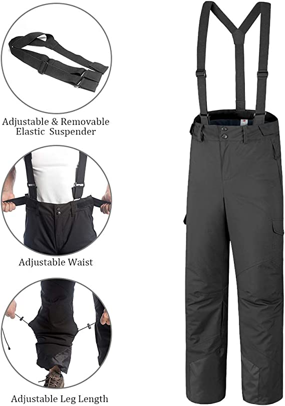 Esquirla Snow Ski Bib Pants Waterproof Insulated Snowboard Trousers Detachable Bib