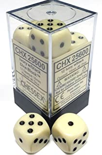 CHX27802 New TD2 Chessex Marble Ivory w//Black Set of 36 d6 Dice Chessex