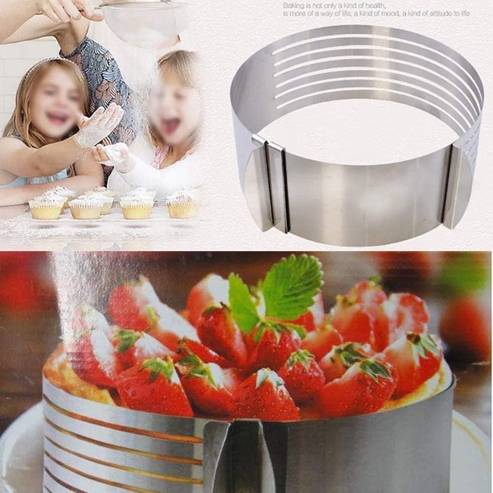 Family in Tortenring,16-20cm Edelstahl Verstellbarer Kuchenring DIY Backformen-Werkzeug Mousse-Formschneiden Teleskop-Kuchenschneider-Kit