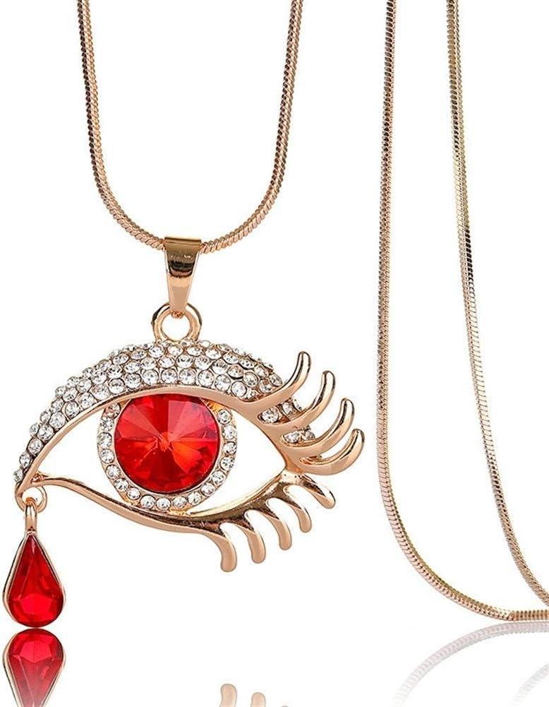 NOLOGO Collar Colgante Collar Enlace Forma Cristal Artificial De La Piedra Preciosa Oval De La LáGrima De Los Ojos del Grano De La Cadena Colgante del DiseñO (Color : Red)