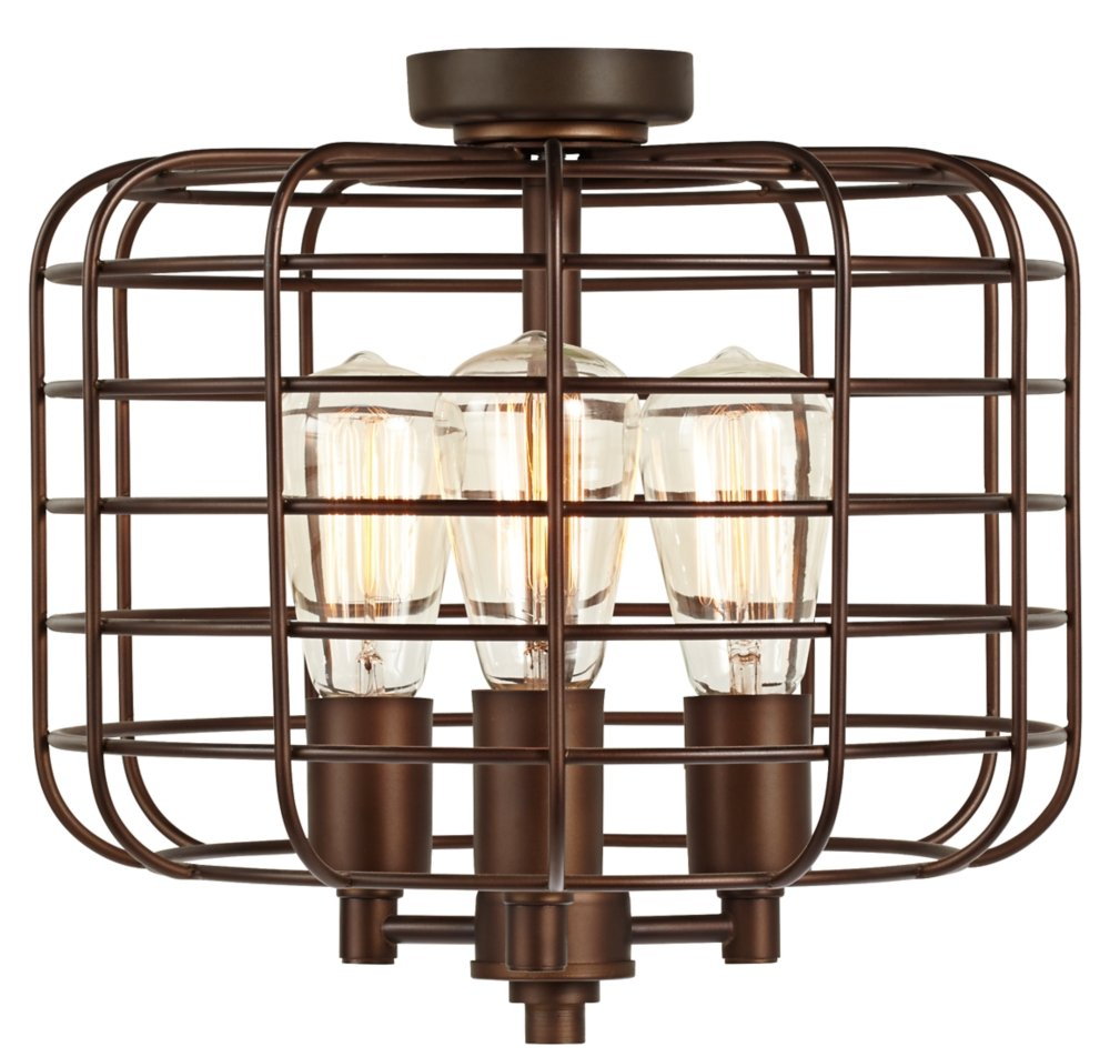 Industrial Cage Oil-Rubbed Bronze Ceiling Fan Light Kit by Universal Lighting and Decor