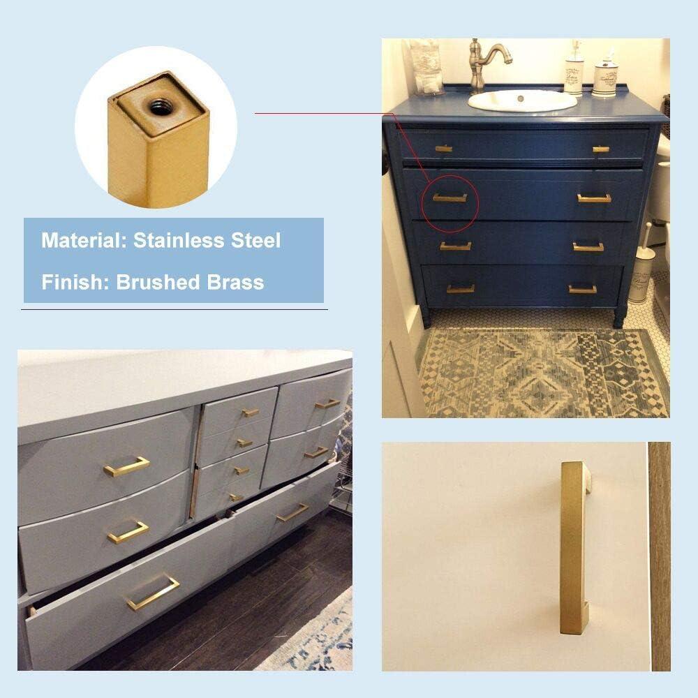 Goldenwarm LSJ12GD128 Modern Gold Bathroom Cabinet Knobs 128mm Hole Centers Square Cupboard Door Handle 5 Pack Brushed Brass Cabinet Handles Kitchen Drawer Knobs