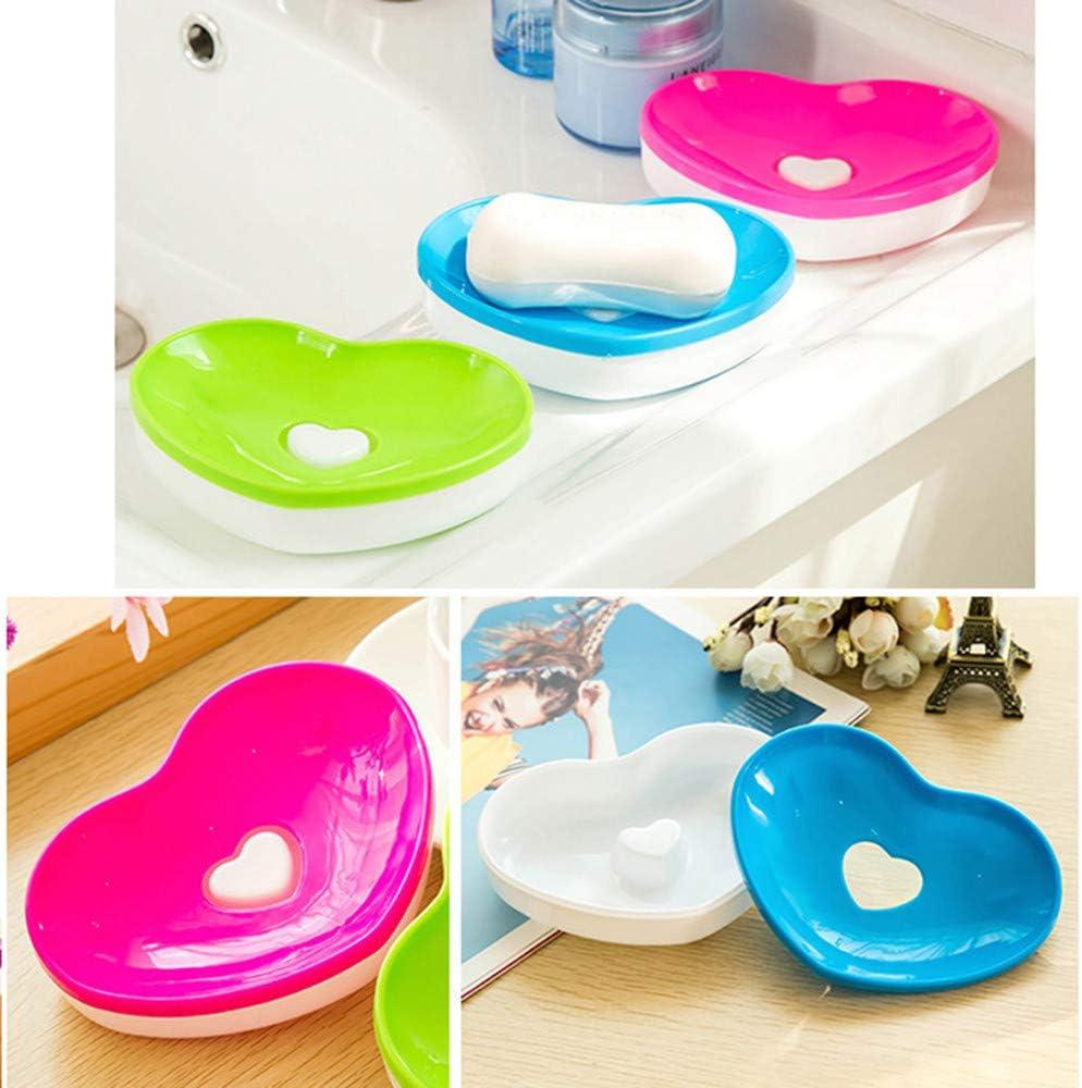 ️ Yu2d ❤️❤️ ️Hot Toilet Soap Silicone Holder Plate Bathroom Heart Shape Soapbox Soap Dish