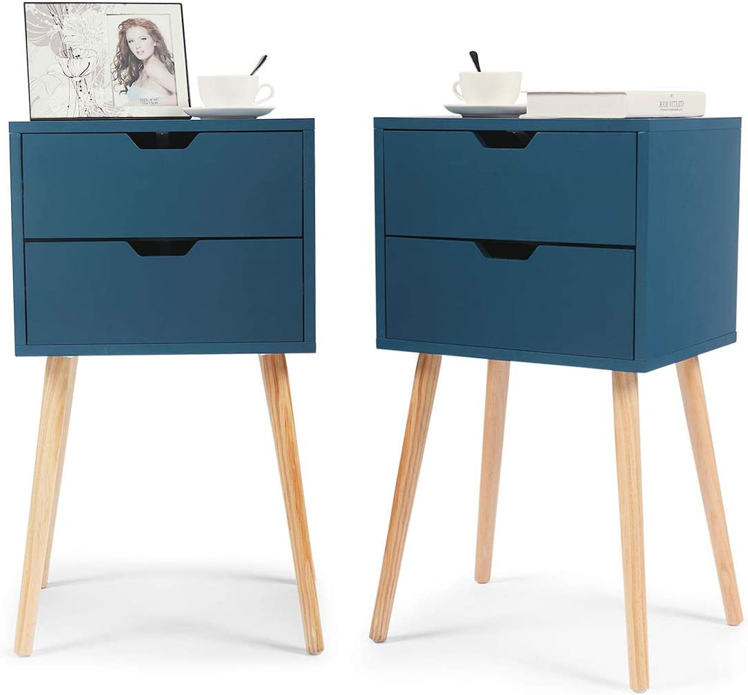 Set of 2 Wood Bedroom Bedside Furniture Nightstand End Table W//2 Drawers White