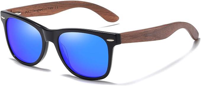 glozzi Sonnenbrille Holz für Damen und Herren mit Holzbügeln Polarisiert Walnuss