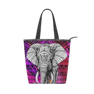 8cc76f0e158c Amazon.com: Womens Canvas Tote Bags Art Indian Elephant Tote ...