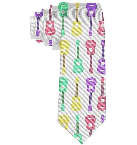 Corbata de patrón de ukelele colorido de hombres Corbata de seda ...