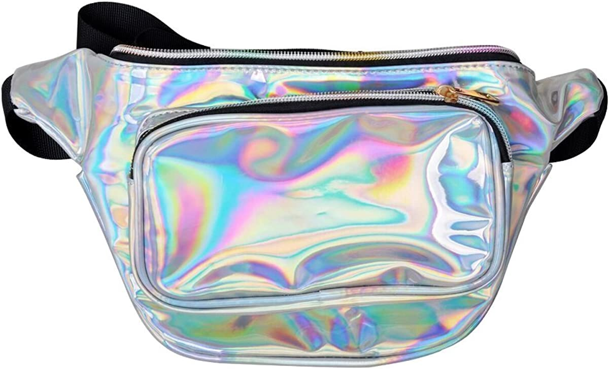 ZONGLY Women Holographic Fanny Pack Fashion Shiny Neon Waist Pack Bum Bag for Festival Party Rave Trip