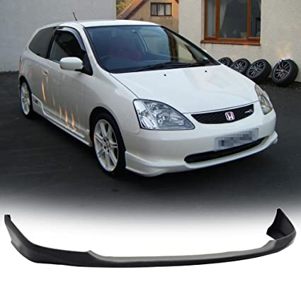 Front Bumper Lip Fits 2002 2005 Honda Civic SI | T R Style Black PU Front