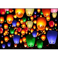 Colorful Make A Wish High Flying Sky Lantern Hot Air Balloon with Fuel Wax Candle