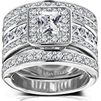Princess Cut Wedding Rings Set - Square Cluster CZ Enhancer Guard 3pcs Halo Bridal Bands Size 5-11