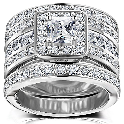 Hiyong Princess Cut Wedding Rings Set - Square Cluster CZ Enhancer Guard 3pcs Halo Bridal Bands Size 5-11