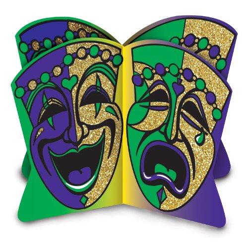 (Beistle 54595 3D Glittered Mardi Gras Centerpiece, 81/2-Inch)