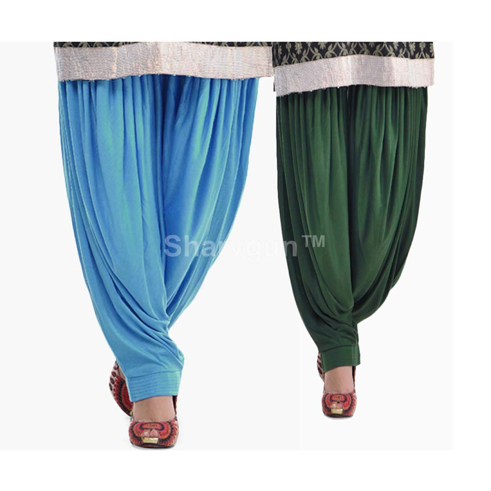 Skyblueedarkgreen Sharvgun Women's Patiala Salwar Viscose Lycra Baggy Trouser Free Size Dhoti Pant Combo Pack of 2 Lycra Salwar