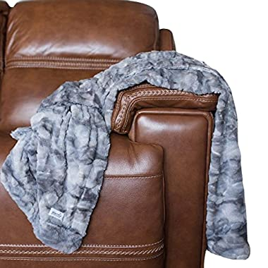 GRACED SOFT LUXURIES Large Super Soft Warm Elegant Cozy Faux Fur Home Throw Blanket 50  x 60 , Marbled Gray