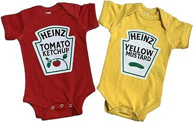 Yummz Tomato Ketchup Yellow Mustard Red and Yellow Bodysuit Baby Twins Jumpsuit