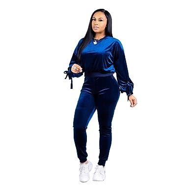 119904242d Women 2 Piece Sweatsuit Workout Outfits Sets 2018 Solid Velour Pants Sport Suits  Tracksuits Blue S
